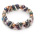 Assorted Multi Color 7-8mm Freshwater Pearl Stretch Bangle Bracelet with Rhinestone Accessories