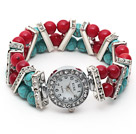 Fashion Style 6-7mm Red Coral and Turquoise Stretch Watch Bracelet with Rhinestone Accessories
