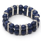 Two Rows Round 10mm Lapis Stretch Bangle Bracelet with Rhinestone Accessories