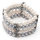 Four Rows 7-8mm Gray and White Round Freshwater Pearl Stretch Bangle Bracelet with Metal Leaf Accessories
