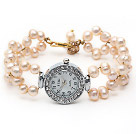 Fashion Style 6-7mm Pink Freshwater Pearl Watch Bracelet with Lobster Clasp