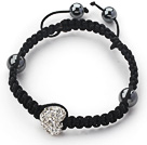 Fashion Style Heart Shape White Rhinestone Woven Adjustable Drawstring Bracelet