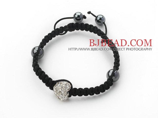 Fashion Style Heart Shape White Rhinestone Woven Adjustable Drawstring Bracelet