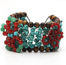 Assorted Turquoise and Tiger Eye Crocheted Wire Bracelet with Carnelian and Aventurine Butterfly under $ 40