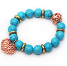 12mm Round Blue Turquoise Beaded Stretch Bracelet with Golden Rose Color Hollow Heart and Ball Accessories