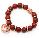 12mm Round Red Jasper Beaded Stretch Bracelet with Golden Rose Color Hollow Heart and Ball Accessories