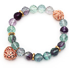 10mm Round Faceted Fluorite Beaded Stretch Bracelet with Golden Rose Color Hollow Heart and Ball Accessories