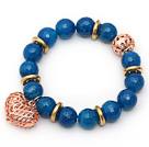 12mm Round Faceted Blue Agate Beaded Stretch Bracelet with Golden Rose Color Hollow Heart and Ball Accessories