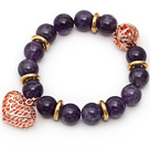 12mm Round Amethyst Beaded Stretch Bracelet with Golden Rose Color Hollow Heart and Ball Accessories