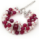 Three Strands White Freshwater Pearl and Purple Red Agate Bracelet with Extendable Chain