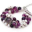 Three Strands White Freshwater Pearl and Purple Agate Bracelet with Extendable Chain