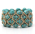 Fashion Style Turquoise Skull Stretch Cuff Bracelet with Yellow Color Metal Chain