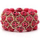 Fashion Style Dyed Hot Pink Turquoise Skull Stretch Cuff Bracelet with Yellow Color Metal Chain
