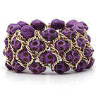 Teñido Estilo Skull Stretch Bracelet Turquesa púrpura de la manera con la cadena del metal del color amarillo