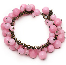 Pink Color Round Candy Jade Bracelet with Bronze Chain