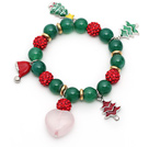 2013 Christmas Design Green Agate and Red Rhinestone Ball Stretch Bracelet with Christmas Tree and Heart Shape Rose Quartz