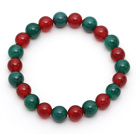 2013 Christmas Design Round 8mm Green Agate and Carnelian Stretch Beaded Bracelet