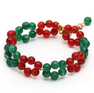 2014 Christmas Design Round Green Agate and Carnelian Beaded Link Bracelet with Extendable Chain