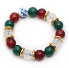 Assorted Round Green Agate and Carnelian and Clear Crystal Lotus Stretch Bracelet