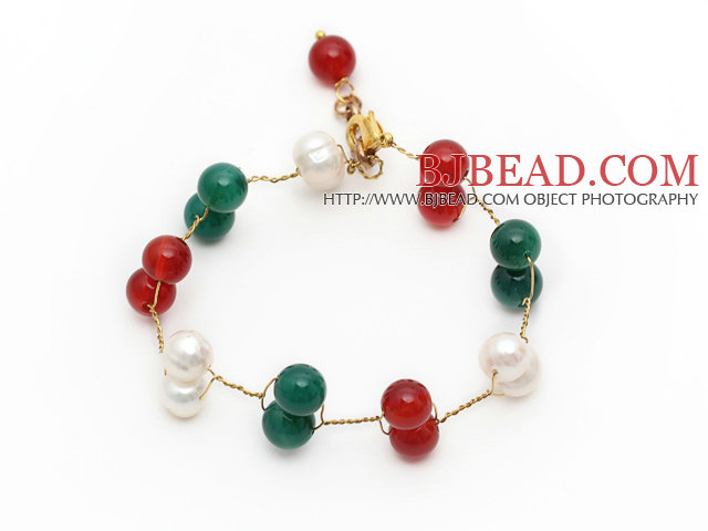 2014 Christmas Design White Freshwater Pearl and Green Agate and Carnelian Wire Bracelet