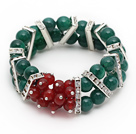 2014 Christmas Design Green Double Rows Agate and Carnelian Stretch Bracelet with Rhinestone Accessories