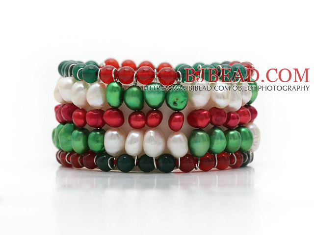2014 Christmas Design Multi Rows Pearl and Green Agate and Carnelian Stretch Cuff Bracelet