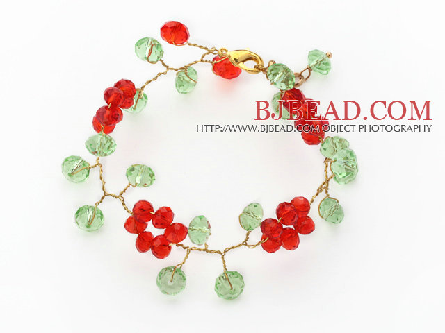 2014 Christmas Design Red and Green Crystal Crocheted Bracelet