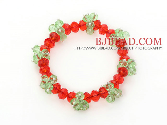 2014 Christmas Design Red and Green Crystal Stretch Bracelet