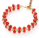 2014 Christmas Design 6mm Red and Green Crystal Bracelet with Extendable Chain under $ 40