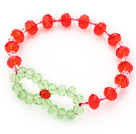 2014 Christmas Design Red Crystal and Green Crystal Stretch Bracelet under $ 40