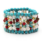 Assorted Turquoise and Red Coral and White Pearl and Tiger Eye Stretch Cuff Bracelet under $ 40