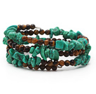 Assorted Turquoise Chips and Tiger Eye Three Times Wrapped Bracelet under $ 40