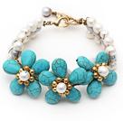 Elegant Style White Freshwater Pearl and Turquoise Flower Bracelet