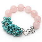 New Design Round Rose Quartz and Turquoise Chips Knotted Bracelet
