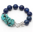 New Design Turquoise Chips and Round Lapis Knotted Bracelet under $ 40