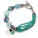 Green Series Faceted Green Agate and Heart Shape Rainbow Fluorite Bracelet