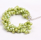 Fashion Multi Strand Natural Yellow Green Freshwater Pearl Bracelet
