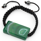 Simple Design Rectange Shape Green Brazil Striped Agate and Hematite Beads Adjustable Drawstring Bracelet