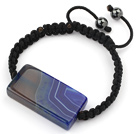 Simple Design Rectange Shape Blue Brazil Striped Agate and Hematite Beads Adjustable Drawstring Bracelet