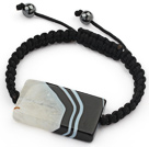 Simple Design Rectange Shape Black and White Brazil Striped Agate and Hematite Beads Adjustable Drawstring Bracelet