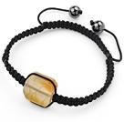 Simple Design Fillet Square Shape Yellow Burst Pattern Agate and Hematite Beads Adjustable Drawstring Bracelet
