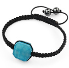Simple Design Fillet Square Shape Lake Blue Burst Pattern Agate and Hematite Beads Adjustable Drawstring Bracelet