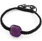 Simple Design Fillet Square Shape Purple Burst Pattern Agate and Hematite Beads Adjustable Drawstring Bracelet