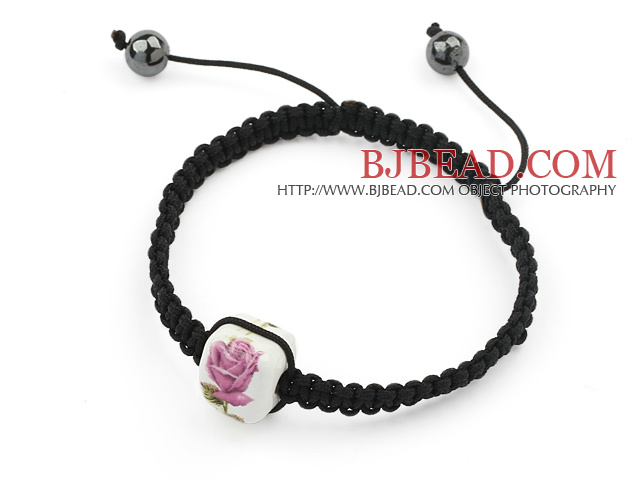 Simple Design Square Shape Pink and White Porcelain and Hematite Beads Adjustable Drawstring Bracelet
