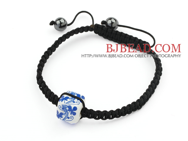 Simple Design Square Shape Blue and White Porcelain and Hematite Beads Adjustable Drawstring Bracelet