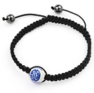 Simple Design Round Blue and White Porcelain and Hematite Beads Adjustable Drawstring Bracelet