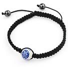 Simple Design Round Blue and White Porcelain and Hematite Beads Adjustable Drawstring Bracelet