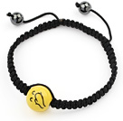 Simple Design Happy Porcelain Beads and Hematite Beads Adjustable Drawstring Bracelet