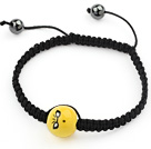 Simple Design Cool Porcelain Beads and Hematite Beads Adjustable Drawstring Bracelet