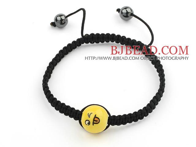 Simple Design Smiling Porcelain Beads and Hematite Beads Adjustable Drawstring Bracelet